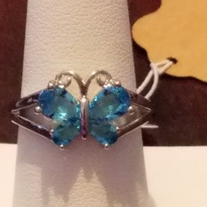925 sterling silver aquamarine blue ring.